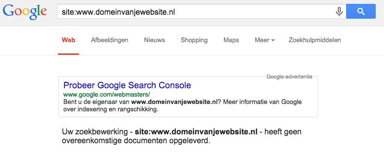 Uw zoekbewerking kent geen resultaat in de index van Google